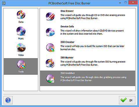 PCBrotherSoft Free Disc Burner- How to Create ISO from CD/DVD?