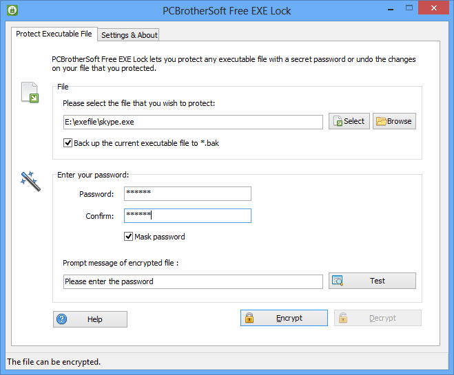PCBrotherSoft Free EXE Lock - Free EXE Lock is to help