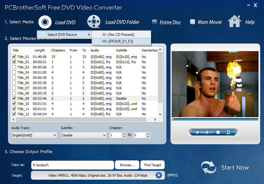 PCBrotherSoft Free DVD Video Converter full screenshot