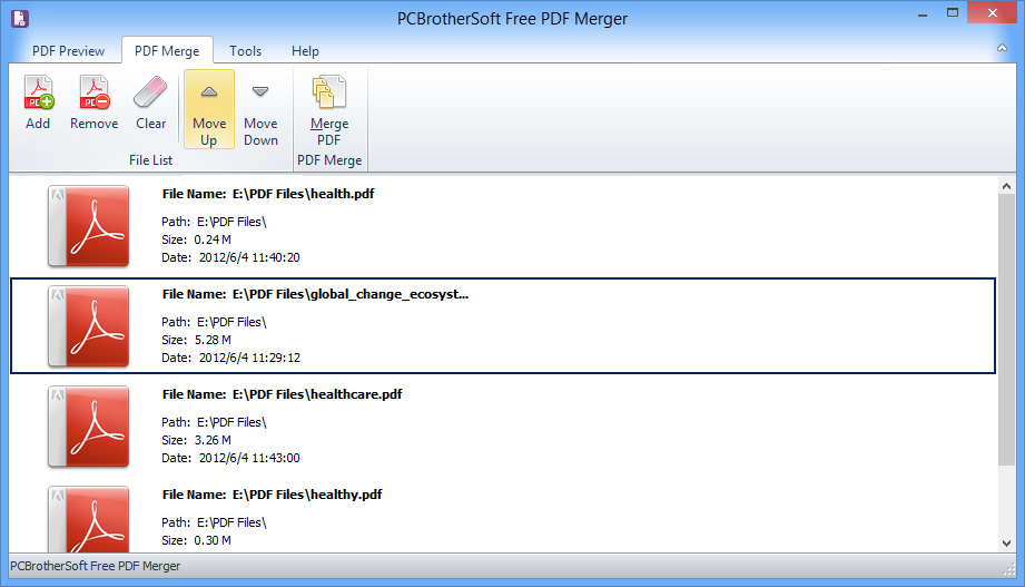 PCBrotherSoft Free PDF Merger full screenshot